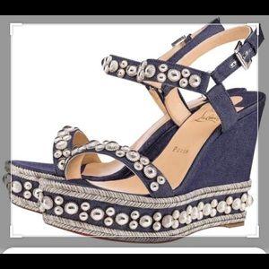 Authentic Christian Loubutin Denim Wedge Sandals